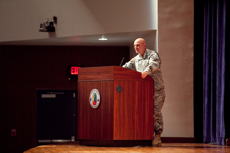 (FORT BENNING, Ga) Author Rick Atkinson speaks to Soldiers during the Combat Leader Speaker Program, June 13, 2013 at Marshall Auditorium. (Photo by Ashley Cross/MCoE PAO Photographer)