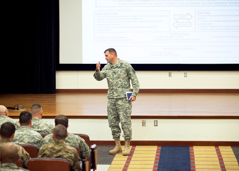 (FORT BENNING, Ga) Maj. Gen. H. R. McMaster and soldiers attend the Combat Speaker Leader Program featuring Mr. Eitan Shamir October 28, 2013.  (Photos by: Patrick A. Albright/MCoE Photographer)