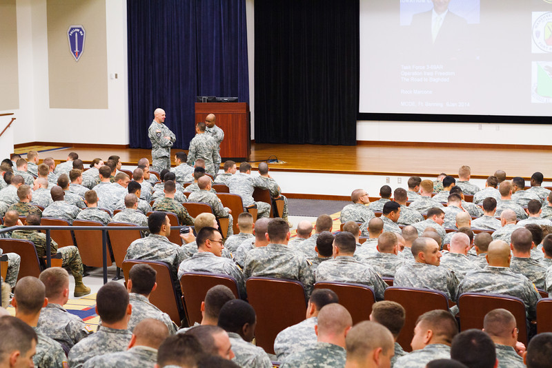 (FORT BENNING, Ga) ) Maj. Gen. H. R. McMaster and soldiers attend the Combat<br /> Speaker Leader Program featuring LTC ( R ) Marcone, January 9, 2014 at Derby<br /> Auditorium.<br />   (Photos by: James R. Dillard / MCoE Photographer)