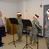 15 DEC 2010 - Members of the MCoE Band play Christmas music for the Public Affairs department.  BLDG 2838, Fort Benning, GA.  Photo by John D. Helms - john.d.helms@us.army.mil