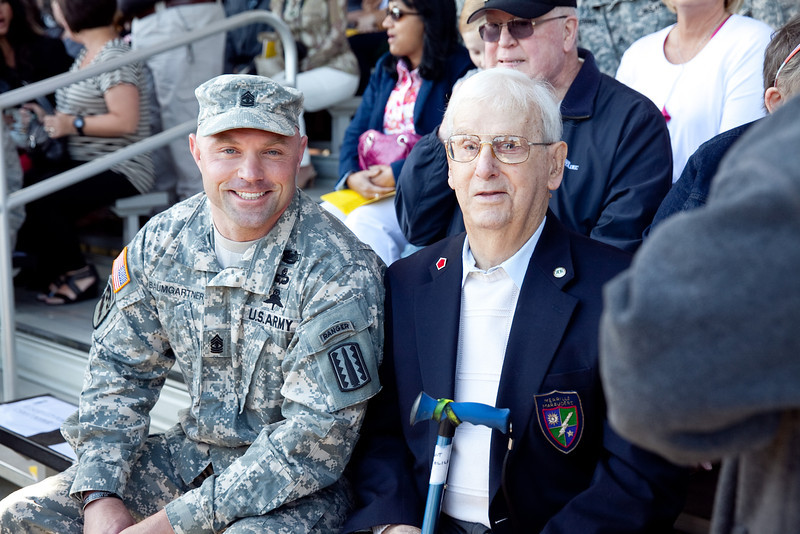 (FORT BENNING, Ga) Retired Master Sergeant E-7 Vincent Melillo, 93, a World War II Merrill's Marauder and Korean War, 5th Regimental Combat Team veteran is awarded the following awards recognizing his bravery and selfless service during five separate campaigns spanning two wars: Bronze Star Medal (one oak leaf cluster), Purple Heart (one oak leaf cluster), World War II Victory Medal, National Defense Service Medal (one bronze service star), Korean Defense Service Medal, Presidential Unit Citation and the Ranger Tab, April 26, 2013 at Victory Pond. (Photo by Ashley Cross/MCoE PAO Photographer)