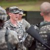 Fort Benning, Ga., - National Guardsmen receive a briefing before the Stress Shoot portion of the Best Warrior Competition July 31, 2012 at Fort Benning, Ga. Soldiers were tested individually on weapon accuracy following physically exhausting events such as running, climbing walls, carrying amunition cans or low crawling. (US Army Photo by Ashley Cross)