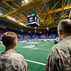 27 MAR 2011 - MCoE Commanding General MG Robert Brown, MCoE CSM Chris Hardy and other MCoE Leadership attend Military Appreciation Night at the Columbus Lions football game.  Columbus Civic Center, Columbus, GA.  Photo by John D. Helms - john.d.helms@us.army.mil