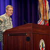 (FORT BENNING, Ga.) Col. David B. Haight, Infantry School Commandant, speaks during his welcome ceremony and reception Friday, Aug. 3, 2012 at McGinnis-Wickam Hall, Fort Benning, Ga. (Photo by: Ashley Cross/MCoE PAO Photographer)