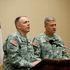(FORT BENNING, Ga.) Col. Paul J. Laughlin, U.S. Armor School Commandant and Col. David B. Haight, U.S. Infantry School Commandant speak to media during The Annual Maneuver Conference, Wednesday, September 19, 2012 at the Columbus Convention and Trade Center, Columbus, Ga. The conference is hosted by Fort Benning and the Maneuver Center of Excellence. (Photo by: Ashley Cross/MCoE PAO Photographer)