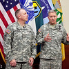 (FORT BENNING, Ga.) Col. Paul J. Laughlin, Armor School Commandant and Col. David B. Haight, Infantry School Commandant, speak to the media prior to their welcome ceremony and reception Friday, Aug. 3, 2012 at McGinnis-Wickam Hall, Fort Benning, Ga. (Photo by: Ashley Cross/MCoE PAO Photographer)