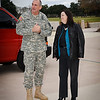 11 JAN 2012 (Fort Benning, GA) - Maj. Gen. Robert Brown, commander of Fort Benning and the Maneuver Center of Excellence, greets Assistant Secretary of the Army for Installations, Katherine Hammack, during her visit to Fort Benning. Photo by Kristian Ogden.