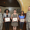 (FORT BENNING, Ga) Colonel Michail S. Huerter, Garrison Commander and Command Sergeant Major Richard Sullivan III, Garrison Command Sergeant Major present awards to members of Benning T.V. and The Bayonet and Saber, June 26,, 2014 at the Benning Club. (Photos by: Patrick A. Albright/MCoE PAO Photographer)