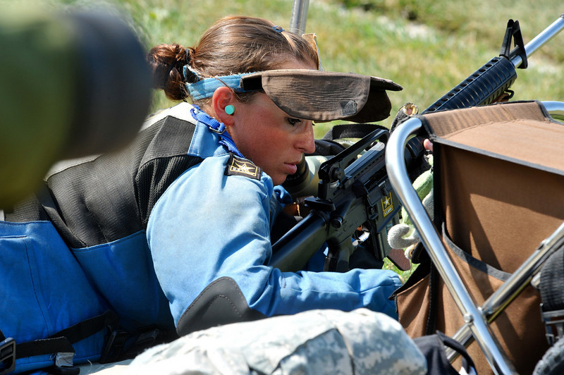 FORT BENNING, Ga. -- Sgt. Sherri Jo Gallagher, U.S. Army Marksmanship Unit, pauses during competition at the National Trophy Rifle Matches this year at Camp Perry, Ohio. Gallagher won the National High-Power Rifle championship, becoming the first servicemember since 1987 to win the coveted championship. This came just weeks after winning the 2010 TRADOC Soldier of the Year competition.<br /> (Photo courtesy of Civilian Marksmanship Program)