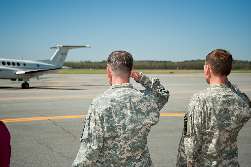 MG Ferriter and CSM Hardy salute as LTG Caslen's plane departs from LAAF, 30 MAR 2010