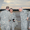 24 JAN 2011 - LTG Hertling, DCG IMT, lands at LAAF and is met by MCoE Commanding General MG Brown and MCoE CSM Hardy.  Fort Benning, GA.  Photo by John D. Helms - john.d.helms@us.army.mil