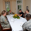 27 JUNE 2011 (FORT BENNING, GA) - Cadets from Wespoint Military Accademy join MG Brown and former NFL offensive lineman, Randy Cross for lunch at Riverside. Photo by Kristian Ogden.