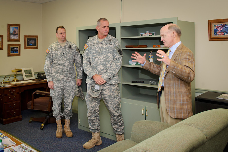 18 AUG 2011 (FORT BENNING, Georgia) - Civilian Aide to the Secretary of the Army and Mr. Morris, founder of Bass Pro Shop, visit the Maneuver Center of Excellence. Photo by Kristian Ogden.