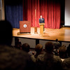 15 FEB 2012 (Fort Benning, GA) - Mr. Allen Hoe visits the Maneuver Center of Excellence and addresses leadership course students at McGinnis-Wickam Hall. Photo by Stephanie Cosby