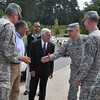 Fort Benning Chief of Staff Col. Louis Lartigue Jr. greets Leon Panetta, 23rd secretary of Defense, in front of the National Infantry Museum and Soldier Center May 4.  Also pictured are Gen. Thomas James, Armor School commandant, Col. Walter Piatt, Infantry School commandant, Maj. Gen. Robert Brown and retired Lt. Gen. Carmen Cavezza.