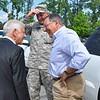 Retired Lt. Gen. Carmen Cavezza, National Infantry Foundation chairman, greets Secretary of Defense Leon Panetta and Maj. Gen. Robert Brown to the National Infantry Museum May 4.