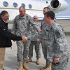 Secretary of Defense Leon Panetta is greeted at Lawson Army Airfield May 4 upon his arrival to Fort Benning.  The welcoming party included Maj. Gen. Robert Brown, Command Sgt. Maj. Steven McClaflin, Lt. Col. Chris Kennedy and Capt. Josh Powers.