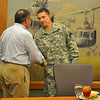 Cpl. Colter Dimas, 75th Ranger Regiment, receives a coin from Secretary of Defense Leon Panetta May 4 at the National Infantry Museum.