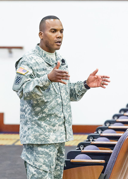Sergeant major Gray addresses fellow NCO's in Derby Auditorium on April 24, 2014. (Photos by James R. Dillard / MCoE PAO Photographer)