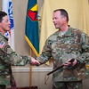 (Fort Benning, Ga)- Brig. Gen. John S. Kolasheski relinquishes command as the Chief of Armor to Brig. Gen. David A. Lesperance, April 13, 2017.  Brig. Gen. Lesperance will be the 51st Chief of Armor. (Photo by: Patrick A. Albright/MCoE PAO Photographer)