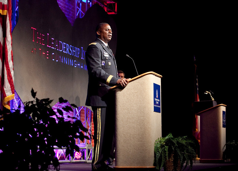 (FORT BENNING, Ga.) Maj. Gen. H. R. McMaster, Commanding General of Fort Benning introduces Gen. Lloyd J. Austin III, Vice Chief of Staff of the Army during the 2012 Jim Blanchard Leadership Forum, Tuesday, August 28, 2012 at the Columbus Georgia Trade and Convention Center. (Photo by: Ashley Cross/MCoE PAO Photographer)