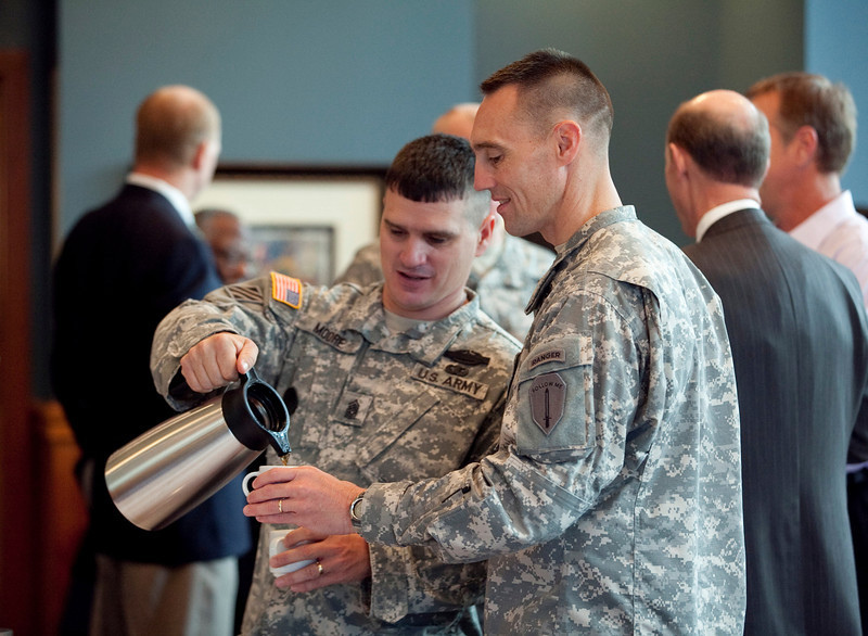(FORT BENNING, Ga.) Maj. Gen. H. R. McMaster and the Fort Benning Command Team have breakfast with Mayor Teresa Tomlinson and fellow council members, Friday, August 24, 2102 at the National Infantry Museum.(Photo by: Ashley Cross/MCoE PAO Photographer)