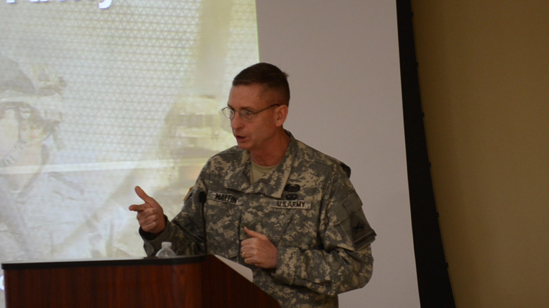 07 APR 2011 BG Martin intros MAJ Gelineau during the second day of the Recon Summit. Video by John D. Helms - john.d.helms@us.army.mil