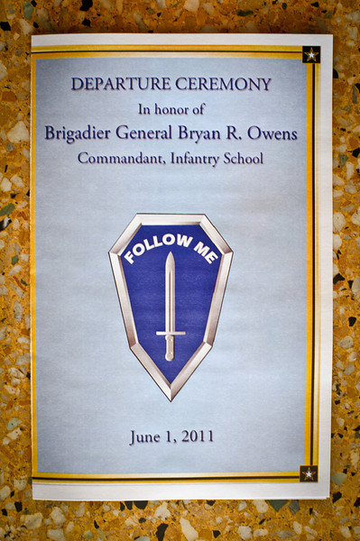 01 JUNE 2011 (FORT BENNING, GEORGIA) - Departure Ceremony for BG Owens. Photo by Kristian Ogden.