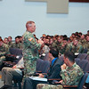 LTG Michael Lundy Commanding General for U.S. Army Combined Arms Center spoke on Optimizing EAB Formations for Large Scale Combat during the 2017 Maneuver Warfighter Conference on September 14, 2017. Army EAB must shift DOTMLPF-P solutions to optimize for large scale combat operations against near-peer threats. (Photos by: Markeith Horace/MCoE PAO Photographer)