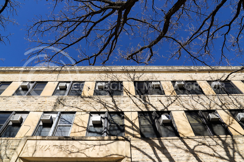 The windows of Waters Hall. (Monica Melber | Collegian Media Group)