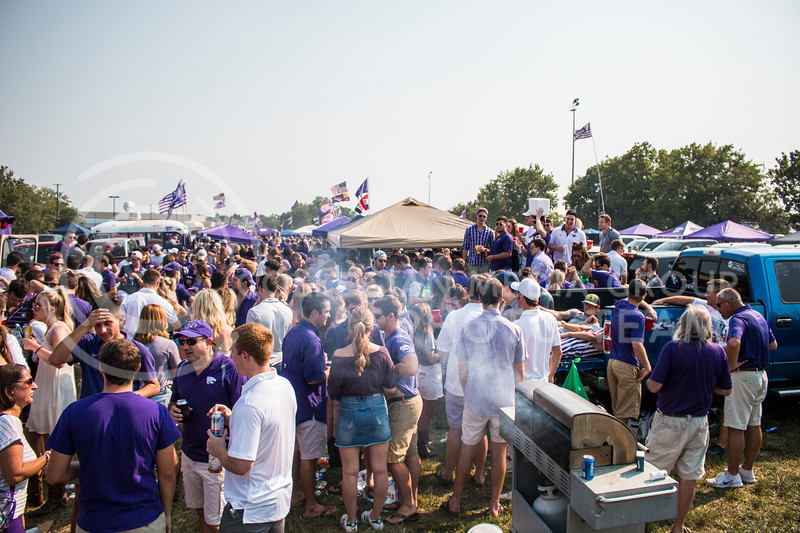 Students at Kansas State University celebrate the first football game of the 2017 Season by dressing the part to support the Wildcats. (Logan Wassall   Collegian Media Group)