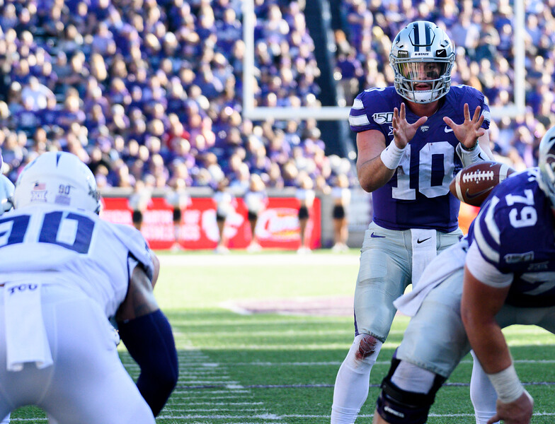 KSU QB, Skylar Thompson, hikes the ball near the K-State end-zone. KSU and TCU faced off at Bill Snyder Family Stadium on Oct 19, 2019. The Wildcats defeated the Horned Frogs 24-17. (Dylan Connell | Collegian Media Group)