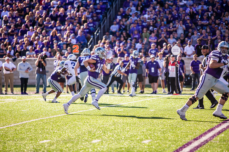 Junior quarterback Skylar Thompson runs the ball during K-State's football game against TCU at Bill Snyder Family Stadium on Oct. 19, 2019. The Wildcats took the Horned Frogs 24-17. (Logan Wassall | Collegian Media Group)