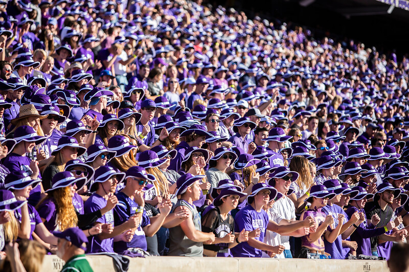 K-State fans in cheer on their football team during their game against TCU at Bill Snyder Family Stadium on Oct. 19, 2019. The Wildcats took the Horned Frogs 24-17. (Logan Wassall | Collegian Media Group)