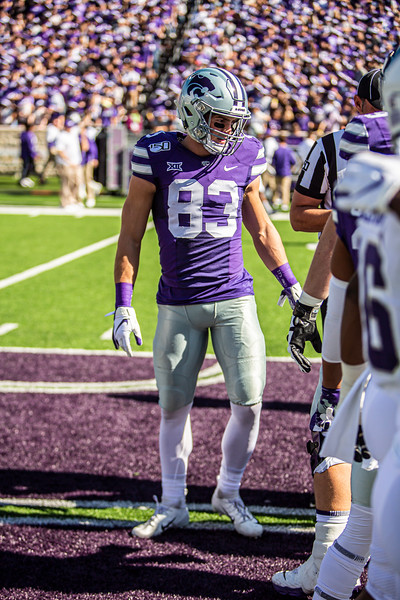Senior wide receiver Dalton Schoen meets at midfield for the coin toss before K-State's football game against TCU at Bill Snyder Family Stadium on Oct. 19, 2019. The Wildcats took the Horned Frogs 24-17. (Logan Wassall | Collegian Media Group)