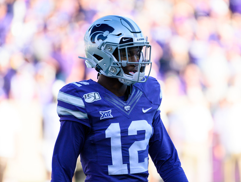 K-State DB, AJ Parker, lines up facing the TCU offense. KSU and TCU faced off at Bill Snyder Family Stadium on Oct 19, 2019. The Wildcats defeated the Horned Frogs 24-17. (Dylan Connell | Collegian Media Group)