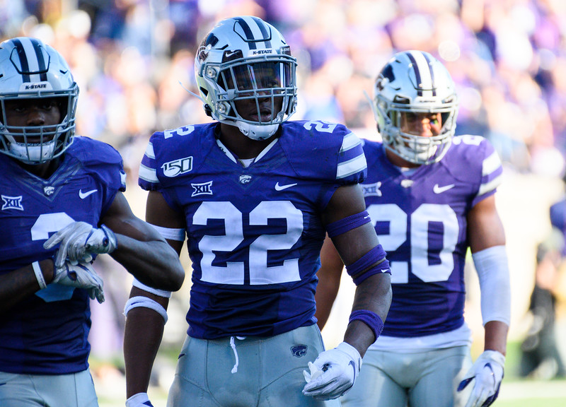 K-State defenders head towards the sideline after stopping TCU on third down. KSU and TCU faced off at Bill Snyder Family Stadium on Oct 19, 2019. The Wildcats defeated the Horned Frogs 24-17. (Dylan Connell | Collegian Media Group)