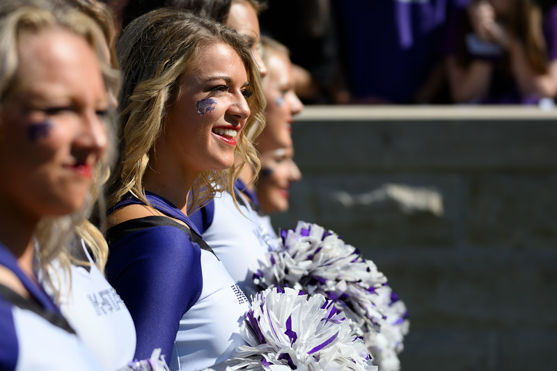 Cheerleaders filled the sidelines before getting ready to perform for the K-State fans at Bill Snyder Family Stadium on Oct 19, 2019. The Wildcats defeated the Horned Frogs 24-17. (Dylan Connell | Collegian Media Group)