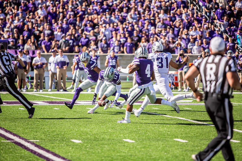 K-State block a punt and recovers the loose ball during their game against TCU at Bill Snyder Family Stadium on Oct. 19, 2019. The Wildcats took the Horned Frogs 24-17. (Logan Wassall | Collegian Media Group)