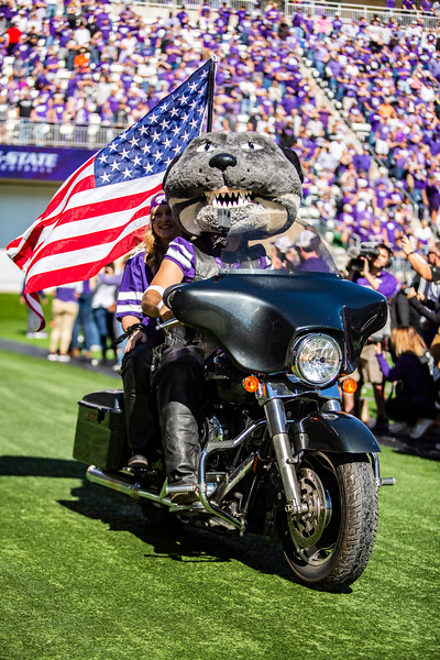Willie Wildcat rides his motorcycle around the field in honor of Harley Day before K-State's football game against TCU at Bill Snyder Family Stadium on Oct. 19, 2019. The Wildcats took the Horned Frogs 24-17. (Logan Wassall | Collegian Media Group)