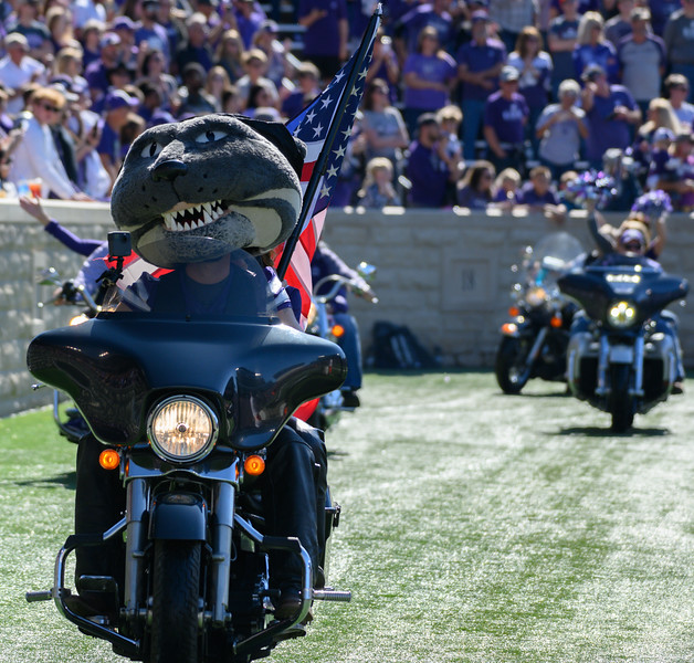 Willie Wildcat rides around the KSU stadium for Harley Day, pregame against TCU at Bill Snyder Family Stadium on Oct 19, 2019. The Wildcats defeated the Horned Frogs 24-17. (Dylan Connell | Collegian Media Group)