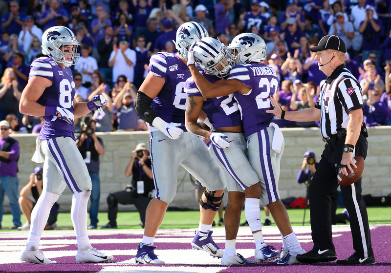 KSU wide receiver, Wykeen Gill, celebrates with teammates after scoring in the second quarter. KSU and TCU faced off at Bill Snyder Family Stadium on Oct 19, 2019. The Wildcats defeated the Horned Frogs 24-17. (Dylan Connell | Collegian Media Group)