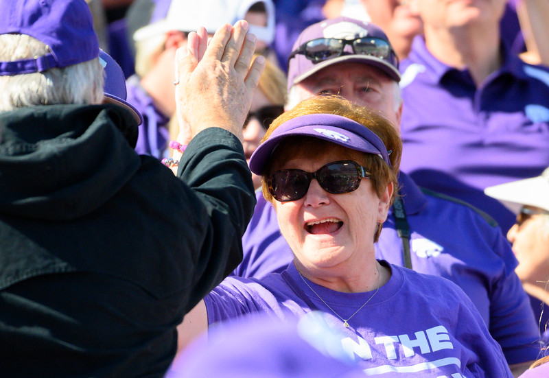 KSU fans cheer after QB, Skylar Thompson, throws the first touchdown of the game against TCU. KSU and TCU faced off at Bill Snyder Family Stadium on Oct 19, 2019. The Wildcats defeated the Horned Frogs 24-17. (Dylan Connell | Collegian Media Group)
