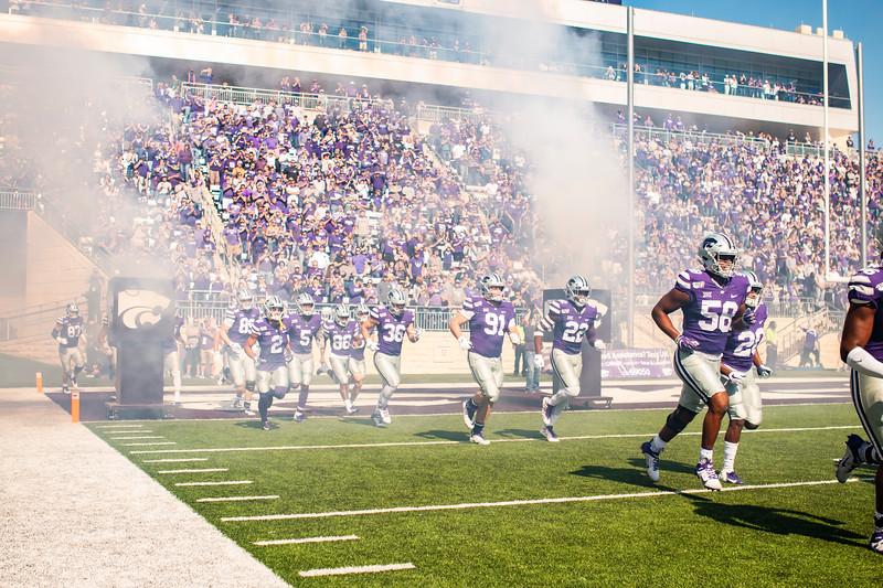 K-State's football team runs out onto the field before their game against TCU at Bill Snyder Family Stadium on Oct. 19, 2019. The Wildcats took the Horned Frogs 24-17. (Logan Wassall | Collegian Media Group)