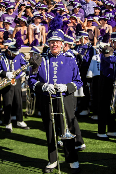 K-State's marching band prepares to perfor during halftime of K-State's football game against TCU at Bill Snyder Family Stadium on Oct. 19, 2019. The Wildcats took the Horned Frogs 24-17. (Logan Wassall | Collegian Media Group)
