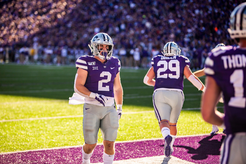 Junior running back Harry Trotter celebrates after K-State scores a touchdown during their football game against TCU at Bill Snyder Family Stadium on Oct. 19, 2019. The Wildcats took the Horned Frogs 24-17. (Logan Wassall | Collegian Media Group)