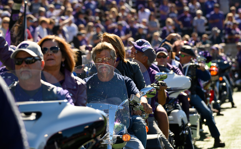 Motorcycles take their thunderous lap around the KSU stadium for Harley Day, pregame against TCU at Bill Snyder Family Stadium on Oct 19, 2019. The Wildcats defeated the Horned Frogs 24-17. (Dylan Connell | Collegian Media Group)