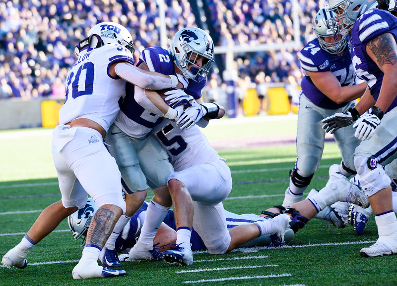 K-State Running Back, Harry Trotter, bulldozes through TCU defenders. Oct 19, 2019. The Wildcats defeated the Horned Frogs 24-17 at Bill Snyder Family Stadium. (Dylan Connell | Collegian Media Group)