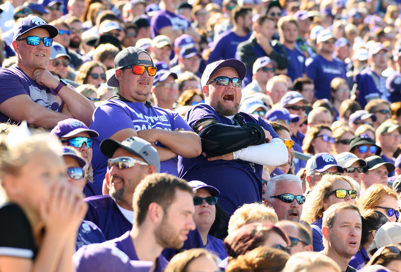 Fans yell towards the refs after a flag was thrown on KSU that prevented a first down. KSU and TCU faced off at Bill Snyder Family Stadium on Oct 19, 2019. The Wildcats defeated the Horned Frogs 24-17. (Dylan Connell | Collegian Media Group)