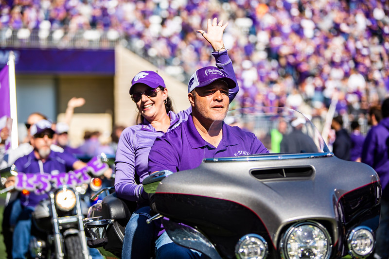 Local motorcycle owners ride around the field in honor of Harley Day before K-State's football game against TCU at Bill Snyder Family Stadium on Oct. 19, 2019. The Wildcats took the Horned Frogs 24-17. (Logan Wassall | Collegian Media Group)